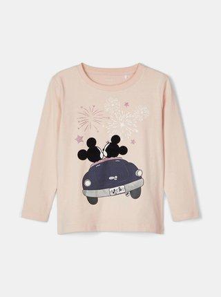 Svetloružové dievčenské tričko s potlačou name it