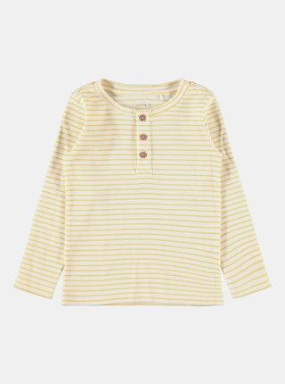 Žlté dievčenské pruhované tričko name it