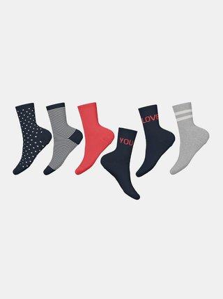 Sada piatich párov dievčenských ponožiek v šedej a modrej farbe name it