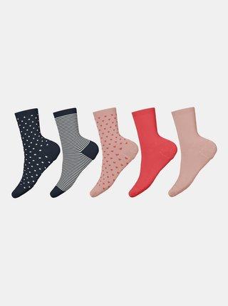 Sada piatich párov dievčenských ponožiek v modrej a ružovej farbe name it