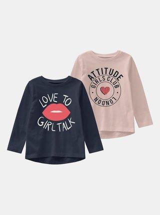 Sada dvoch dievčenských tričiek v modrej a ružovej farbe name it