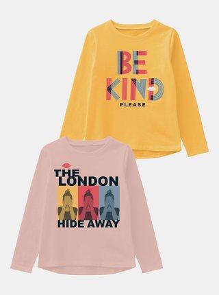 Sada dvou holčičích triček v růžové a žluté barvě name it