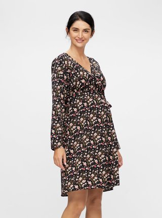 Tmavomodré kvetované tehotenské šaty Mama.licious