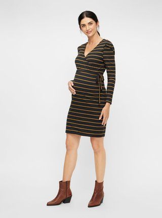 Hnědé pruhované pouzdrové těhotenské/kojicí šaty Mama.licious