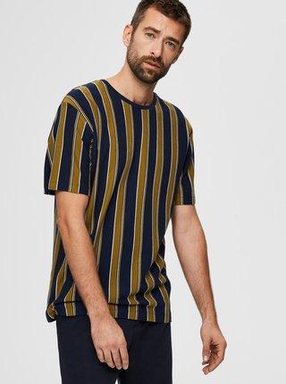 Modro-zelené pruhované tričko Selected Homme