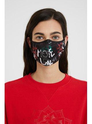 Desigual černá rouška Mask Lettering s barevnými motivy