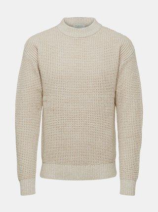 Krémový sveter Selected Homme