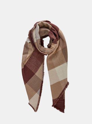 Béžovo-hnědý kostkovaný šátek Pieces