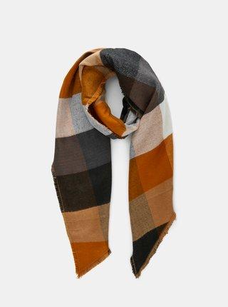 Šedo-hnědý kostkovaný šátek Pieces