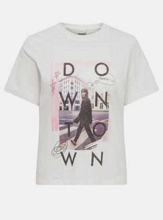 Bílé tričko s potiskem Jacqueline de Yong Frutty