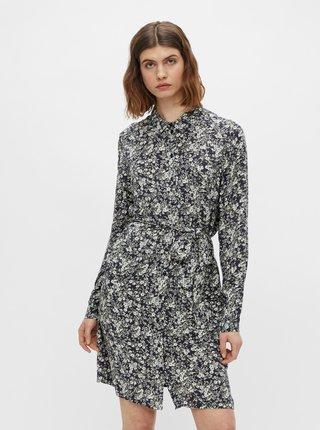 Šedé květované košilové šaty Pieces