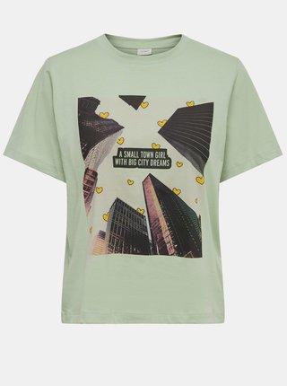 Světle zelené tričko s potiskem Jacqueline de Yong Frutty