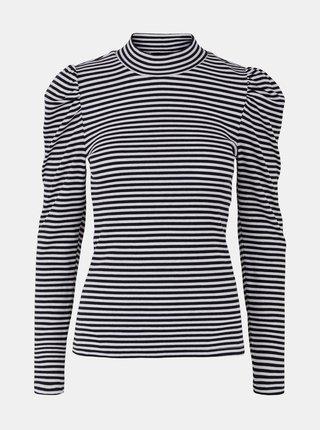 Černé pruhované tričko se stojáčkem Pieces