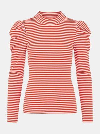 Červené pruhované tričko se stojáčkem Pieces
