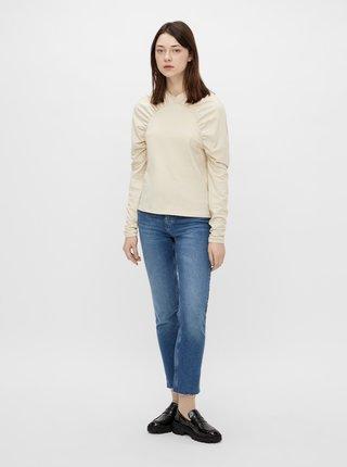 Krémové tričko s nariasenými rukávmi Pieces