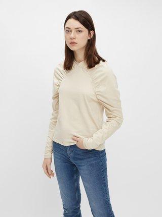 Krémové tričko s nařasenými rukávy Pieces