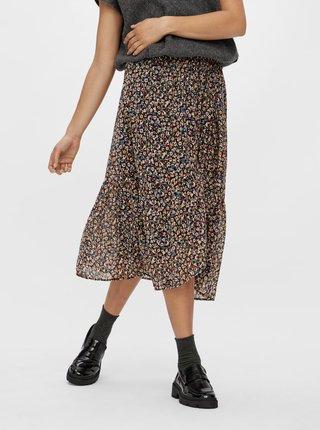 Černá květovaná midi sukně Pieces
