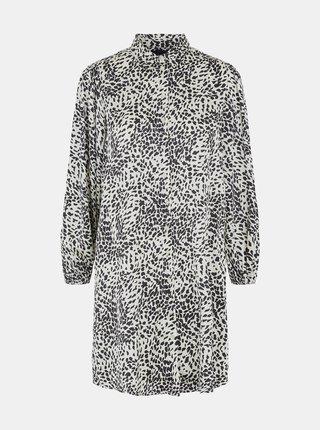Krémové vzorované košilové šaty Pieces