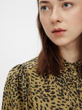 Khaki vzorované košilové šaty Pieces