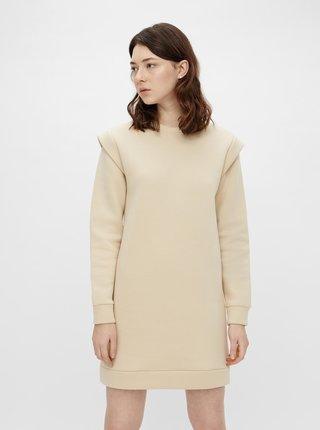 Krémové mikinové šaty Pieces