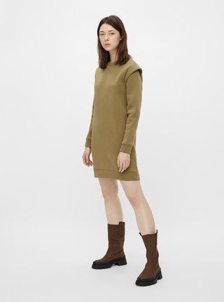 Khaki mikinové šaty Pieces