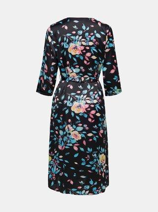 Čierne kvetované zavinovacie šaty Jacqueline de Yong Juliette