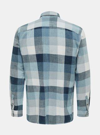 Modrá kockovaná košeľa ONLY & SONS