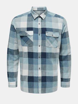 Modrá kostkovaná košile ONLY & SONS