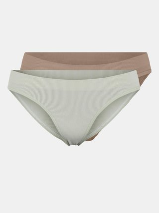 Sada dvou kalhotek v bílé a béžové barvě Pieces