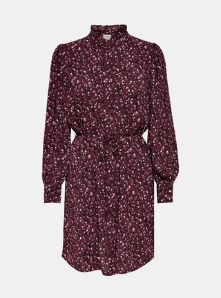 Vínové vzorované košilové šaty Jacqueline de Yong Milo