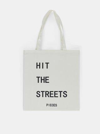 Biela plátená taška s potlačou Pieces