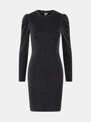 Černé pouzdrové třpytivé šaty Pieces