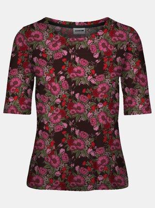 Černé květované tričko Noisy May Sally