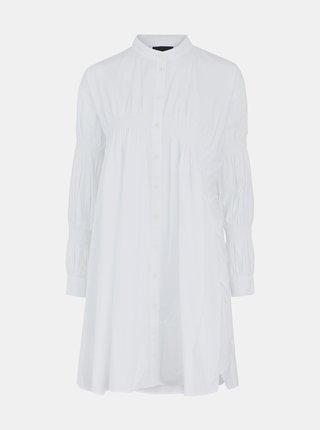 Bílé volné košilové šaty Pieces