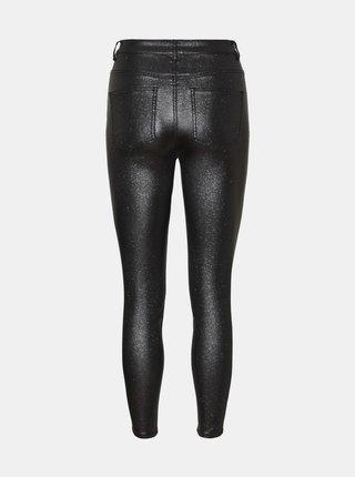 Černé koženkové skinny fit kalhoty Noisy May Callie