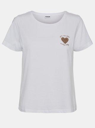 Bílé tričko s potiskem Noisy May Mate