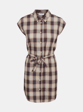 Krémové kockované košeľové šaty Noisy May Ella