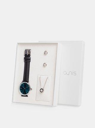 Sada dámskych náušnic, retiazky a hodiniek s čiernym koženým remienkom a-nis