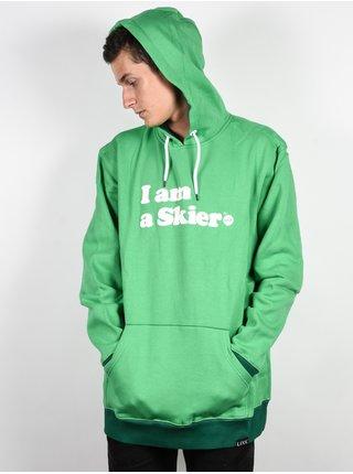 Line I Am A Skier KELLY GREEN mikiny přes hlavu pánská - zelená