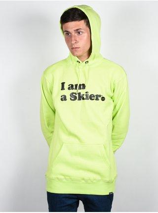Line I Am A Skier ELECTRIC YELLOW mikiny přes hlavu pánská - zelená