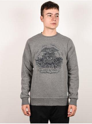 Element TOO LATE STUMP grey heather mikiny přes hlavu pánská - šedá