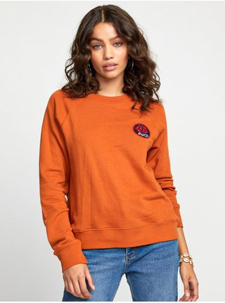 RVCA DYNASTY DARK ORANGE mikina dámská - oranžová