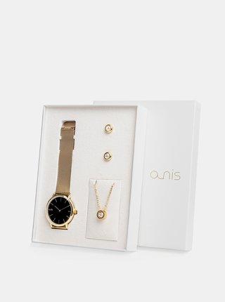 Sada dámskych hodiniek, náušnic a retiazky v zlatej farbe a-nis