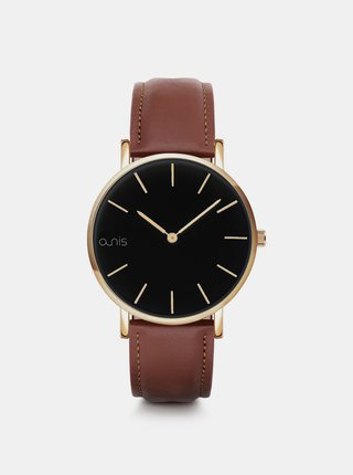 Sada dámskeho náramku, náhrdeľníku a hodiniek s hnedým koženým remienkom a-nis