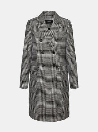 Šedý kockovaný kabát s prímesou vlny VERO MODA