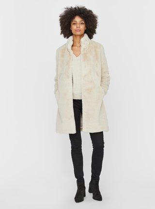 Krémový kabát z umělého kožíšku VERO MODA Valli Alma