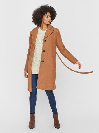 Hnědý vlněný kabát VERO MODA
