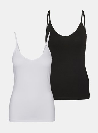 Sada dvoch basic tielok v bielej a čiernej farbe VERO MODA