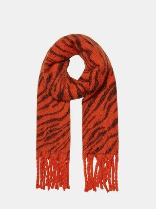 Červený šál so zebrím vzorom VERO MODA