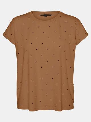 Hnědé puntíkované tričko VERO MODA